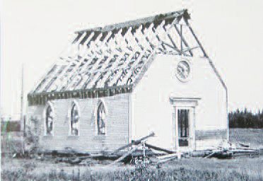 Old United Church in Fairfield NB being dismantled around 1970