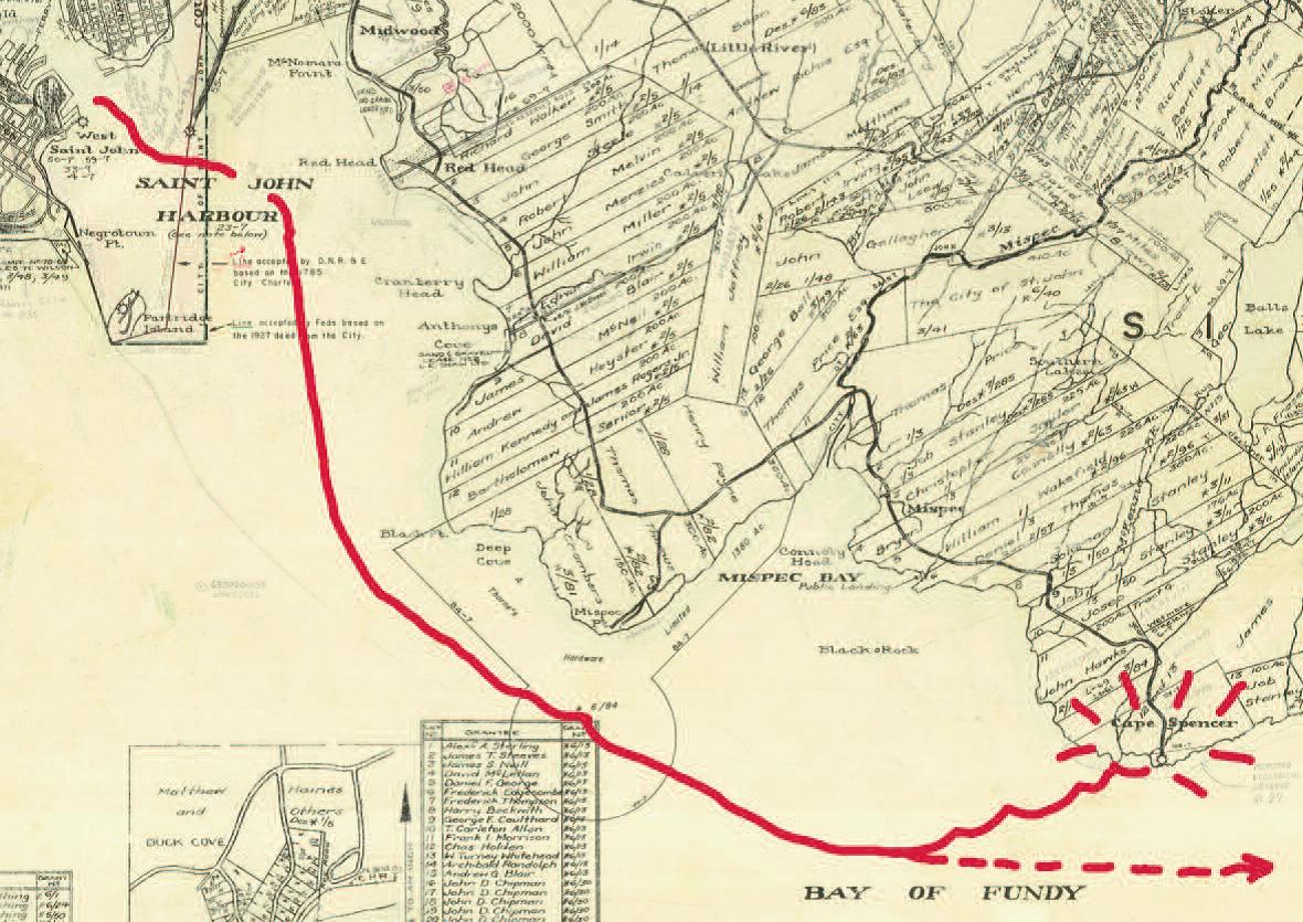 Map of southeastern New Brunswick showing path of schooner Bella
