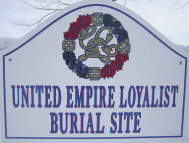 Sign for United Empire Loyalist Burial Site in Four Corners Cemetery
