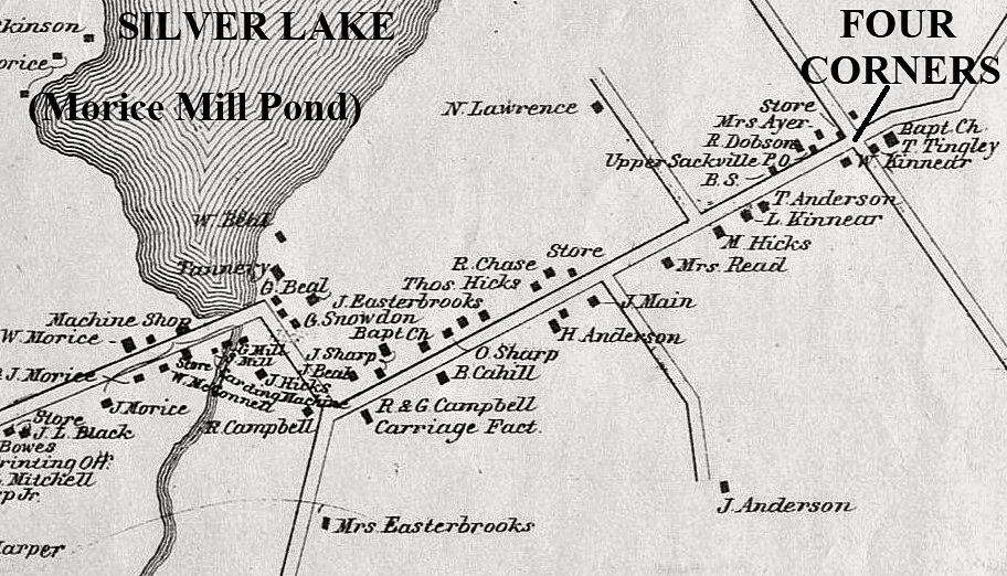 Section of Walling Map of 1862 showing Silver Lake and Four Corners New Brunswick