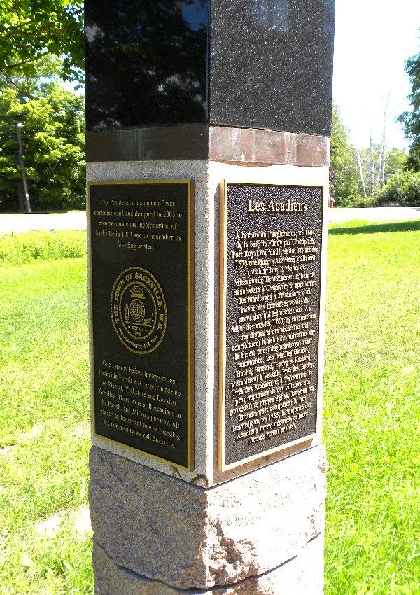 Sackville Centennial Monument Historial Plaques