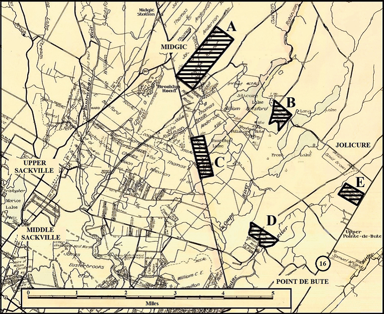 Map of parcels of land granted to Andrew Kinnear